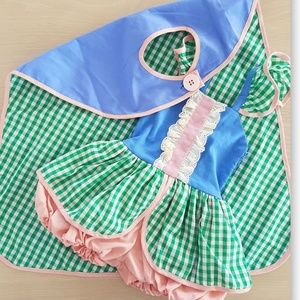 DOLLCAKE NWT pink green checks bubbl ROMPER & CAPE